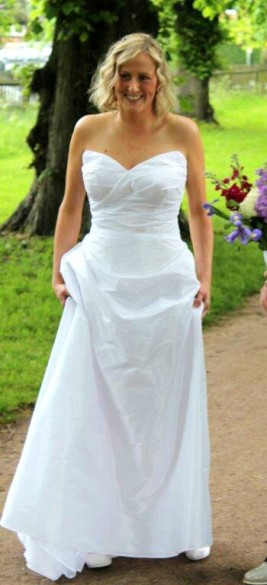 Simple, elegant, draped taffeta dress with 'built in' support