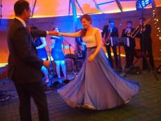 Cate in her add on silk beaded skirt for the evening do and first dance